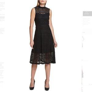 •Kensie• Black Sleeveless Cutout Lace Dress